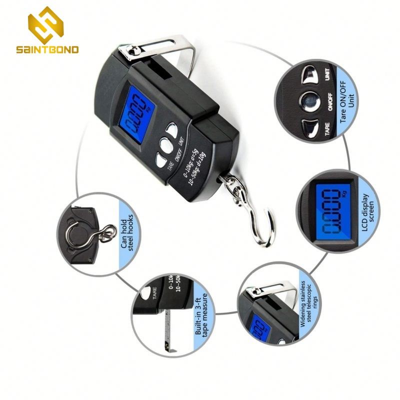 OCS-2 Fishing Scale Hanging Scale 110lb/50kg Portable Electronic Digital Postal Hook Luggage Shopping Scale With Measuring Tape